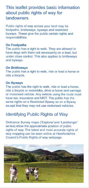 Public Rights of Way: Advice for Farmers and Landowners